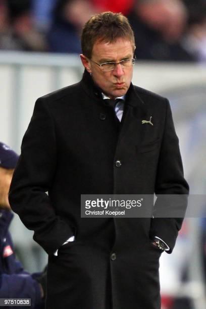 Head coach Ralf Rangnick of Hoffenheim looks thoughtful during the Bundesliga match between 1899 Hoffenheim and FSV Mainz at RheinNeckar Arena on...