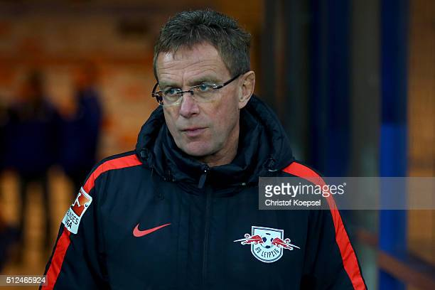 Head coach Ralf Rangnick of Leipzig looks on prior to the 2 Bundesliga match between SC Paderborn and RB Leipzig at Benteler Arena on February 26...