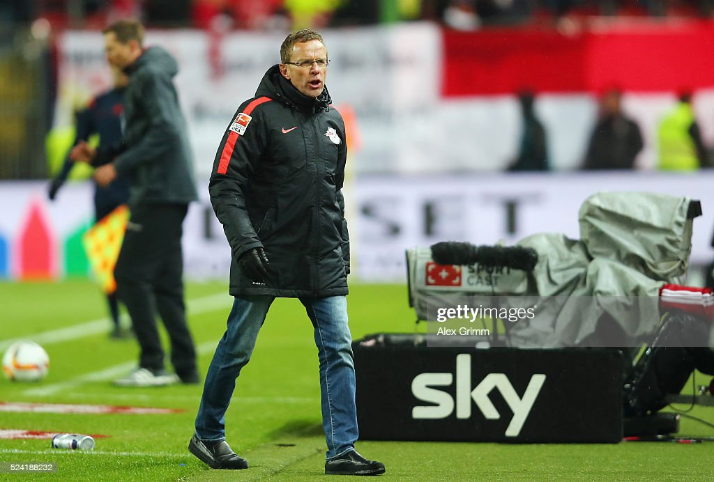 Head coach Ralf Rangnick of Leipzig reacts during the Second Bundesliga match between 1. FC Kaiserslautern and RB Leipzig at Fritz-Walter-Stadion on April 25, 2016 in Kaiserslautern, Germany.