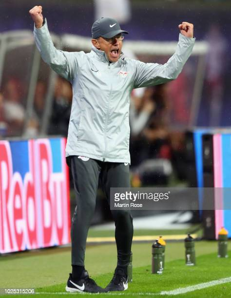 Head coach Ralf Rangnick of Leipzig reacts during the UEFA Europa League Qualifying PlayOff second leg match between RB Leipzig and Zorya Luhansk at...