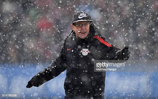 Head coach Ralf Rangnick of RB Leipzig gestures during the Second Bundesliga match between SC Freiburg and RB Leipzig at SchwarzwaldStadion on March...