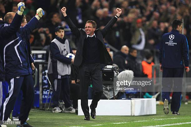 Head coach Ralf Rangnick of Schalke celebrates his team's second goal during the UEFA Champions League Quarter Final second leg match between Schalke...