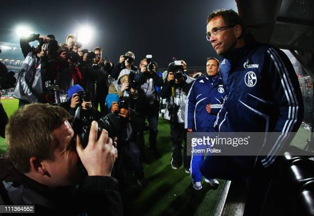 Head coach Ralf Rangnick of Schalke is seen prior to the Bundesliga match between FC St. Pauli and FC Schalke 04 at Millerntor Stadium on April 1,...