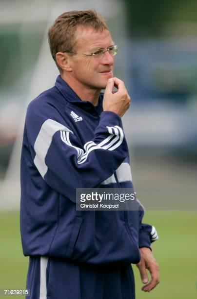 Head coach Ralf Rangnick of TSG Hoffenheim is thoughtful during the training session for the TSG Hoffenheim report on August 10, 2006 in Hoffenheim...
