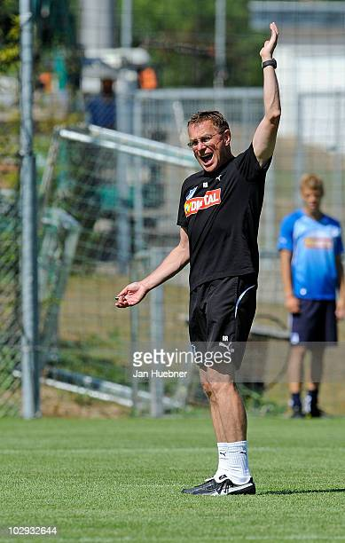 Head coach Ralf Rangnick reacts during the TSG Hoffenheim first training session for the upcoming season 2010/2011 on July 16 2010 in Zuzenhausen...