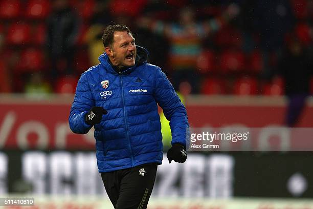 Head coach Ralph Hasenhuettl of Ingolstadt celebrates after the Bundesliga match between FC Ingolstadt and Werder Bremen at Audi Sportpark on...