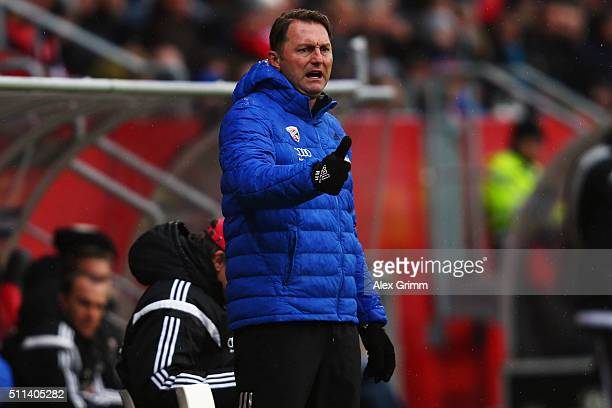 Head coach Ralph Hasenhuettl of Ingolstadt reacts during the Bundesliga match between FC Ingolstadt and Werder Bremen at Audi Sportpark on February...