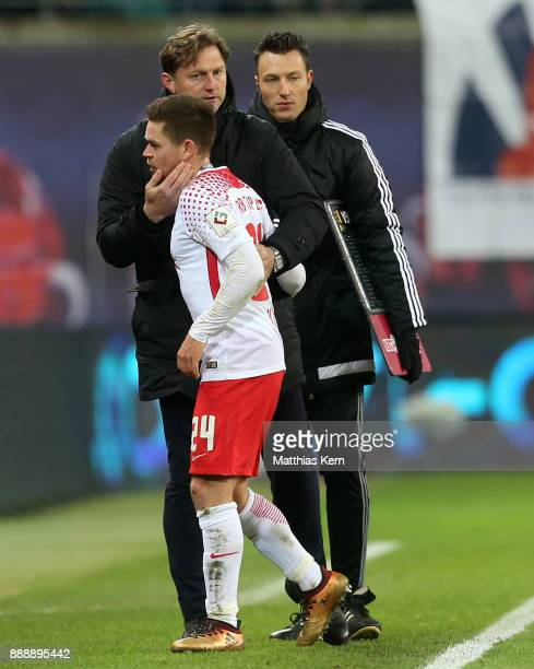 Head coach Ralph Hasenhuettl of Leipzig and Dominik Kaiser look on during the Bundesliga match between RB Leipzig and 1FSV Mainz 05 at Red Bull Arena...