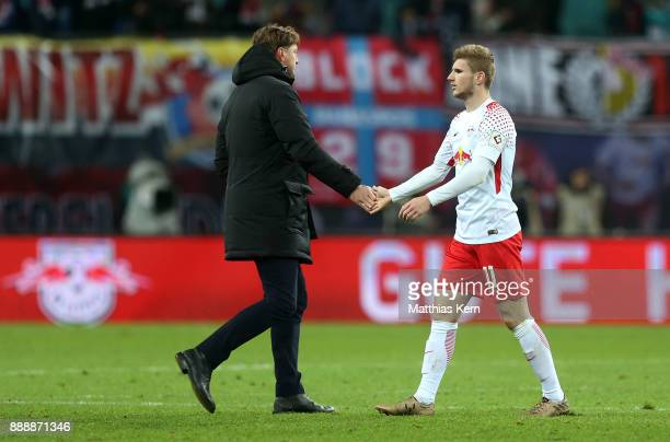 Head coach Ralph Hasenhuettl of Leipzig and Timo Werner show their frustration after the Bundesliga match between RB Leipzig and 1FSV Mainz 05 at Red...