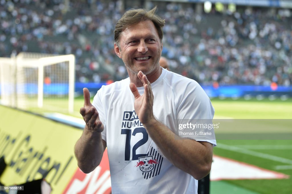 Head coach Ralph Hasenhuettl of Leipzig celebrates after the Bundesliga match between Hertha BSC and RB Leipzig at Olympiastadion on May 12, 2018 in Berlin, Germany.