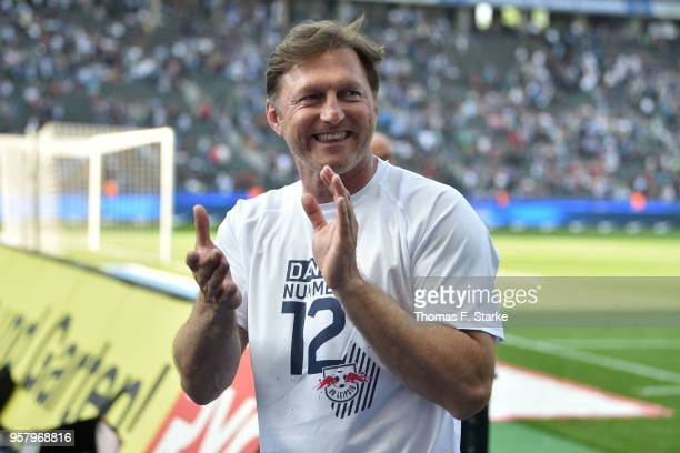 Head coach Ralph Hasenhuettl of Leipzig celebrates after the Bundesliga match between Hertha BSC and RB Leipzig at Olympiastadion on May 12 2018 in...
