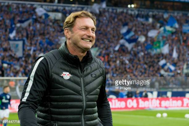 Head coach Ralph Hasenhuettl of Leipzig laughs during the Bundesliga match between FC Schalke 04 and RB Leipzig at VeltinsArena on April 23 2017 in...