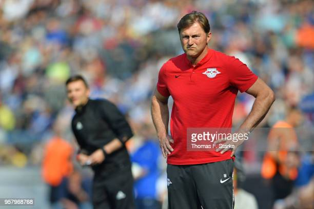 Head coach Ralph Hasenhuettl of Leipzig looks on during the Bundesliga match between Hertha BSC and RB Leipzig at Olympiastadion on May 12 2018 in...
