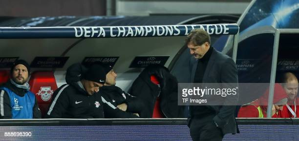 Head coach Ralph Hasenhuettl of Leipzig looks on during the UEFA Champions League group G soccer match between RB Leipzig and Besiktas at the Leipzig...