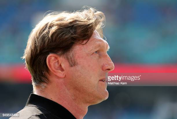Head coach Ralph Hasenhuettl of Leipzig looks on prior to the Bundesliga match between RB Leipzig and TSG 1899 Hoffenheim at Red Bull Arena on April...