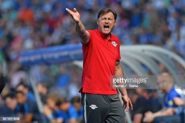 Head coach Ralph Hasenhuettl of Leipzig reacts during the Bundesliga match between Hertha BSC and RB Leipzig at Olympiastadion on May 12 2018 in...