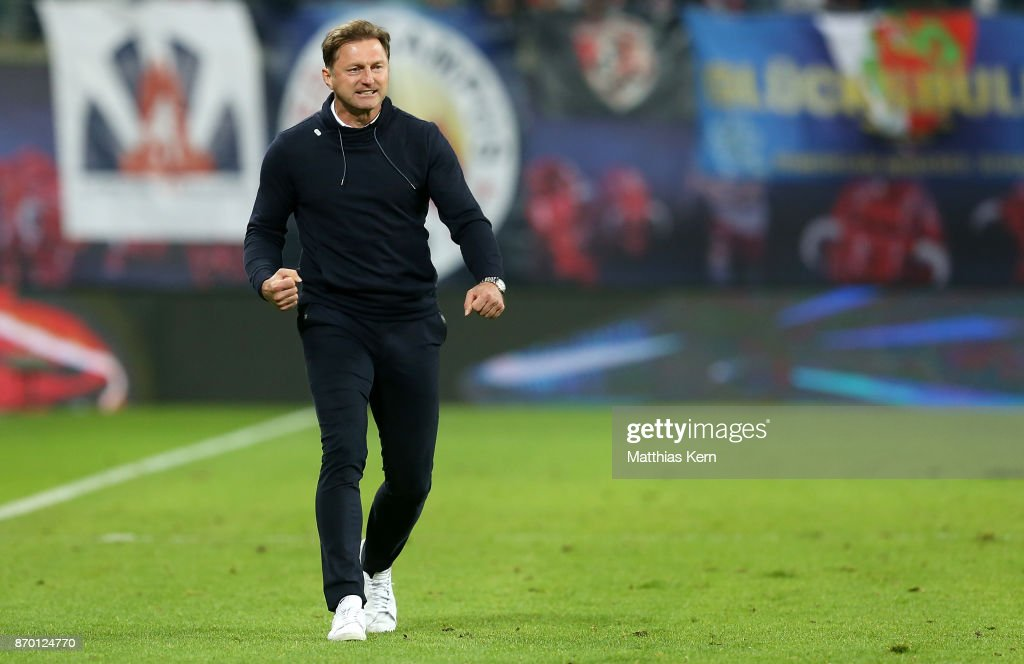 Head coach Ralph Hasenhuettl of Leipzig shows his delight after winning the Bundesliga match between RB Leipzig and Hannover 96 at Red Bull Arena on November 4, 2017 in Leipzig, Germany.