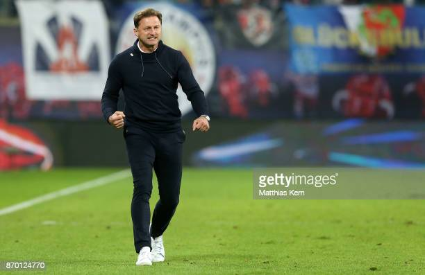 Head coach Ralph Hasenhuettl of Leipzig shows his delight after winning the Bundesliga match between RB Leipzig and Hannover 96 at Red Bull Arena on...