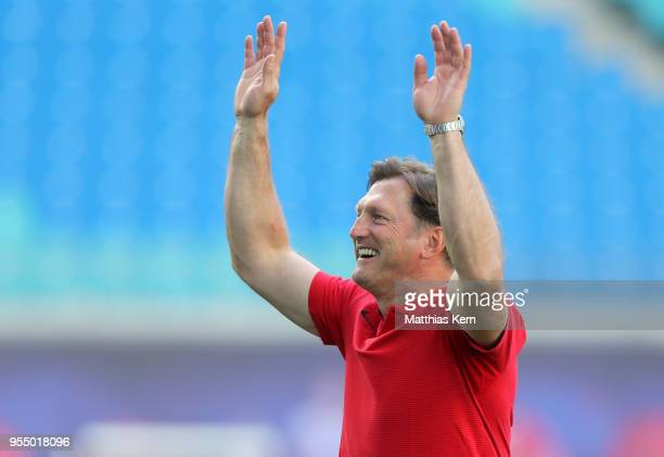 Head coach Ralph Hasenhuettl of Leipzig shows his delight after winning the Bundesliga match between RB Leipzig and VfL Wolfsburg at Red Bull Arena...