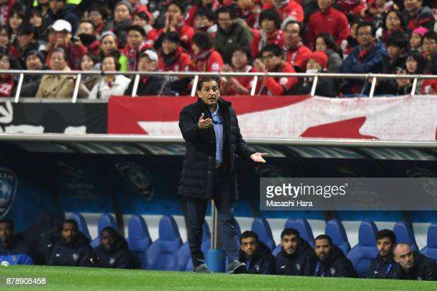 Head coach Ramon Diaz of AlHilal gestures during the AFC Champions League Final second leg match between Urawa Red Diamonds and AlHilal at Saitama...