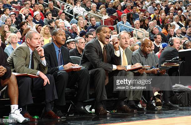 Head coach Randy Ayers of the Philadelphia 76ers calls out to his team during the game against the Indiana Pacers at the First Union Center on...
