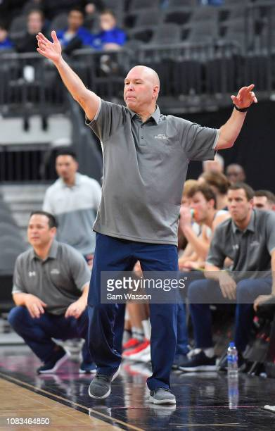 Head coach Randy Bennett of the Saint Mary's Gaels gestures during his team's game against the LSU Tigers at TMobile Arena on December 15 2018 in Las...