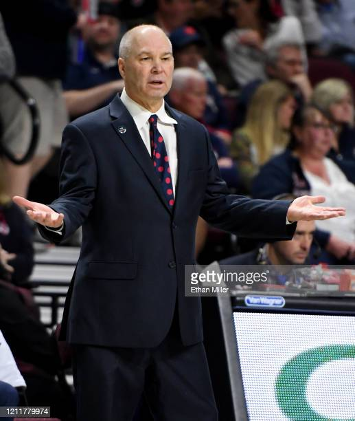 Head coach Randy Bennett of the Saint Mary's Gaels gestures to an official as his team takes on the Gonzaga Bulldogs during the championship game of...