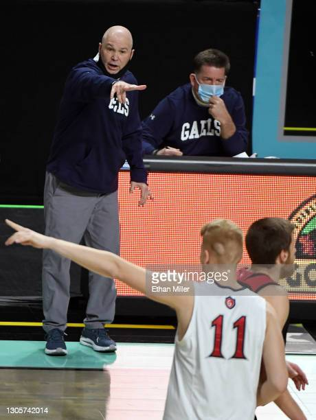 Head coach Randy Bennett of the Saint Mary's Gaels gestures to his players as they take on the Loyola Marymount Lions during the West Coast...