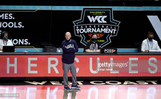 Head coach Randy Bennett of the Saint Mary's Gaels watches his players as they take on the Loyola Marymount Lions during the West Coast Conference...