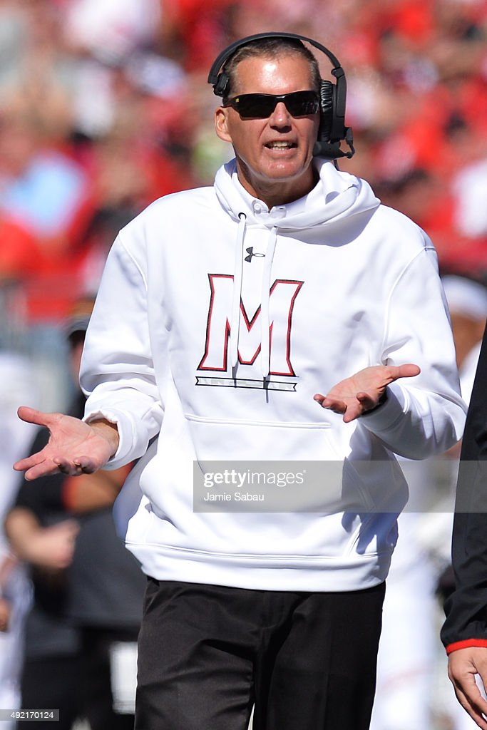 Head Coach Randy Edsall of the Maryland Terrapins reacts after the Terrapins were called for a penalty in the third quarter against the Ohio State Buckeyes at Ohio Stadium on October 10, 2015 in Columbus, Ohio. Ohio State defeated Maryland 49-28.