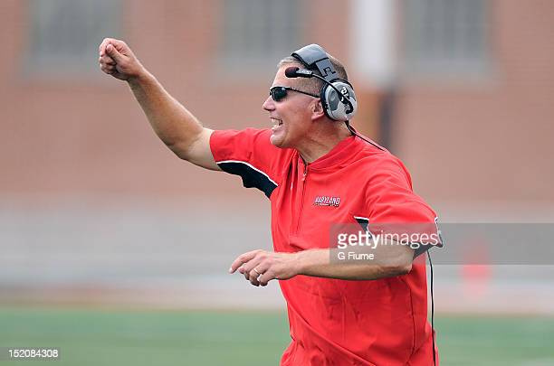 Head coach Randy Edsall of the Maryland Terrapins reacts to a call during the game against the William Mary Tribe at Byrd Stadium on September 1 2012...