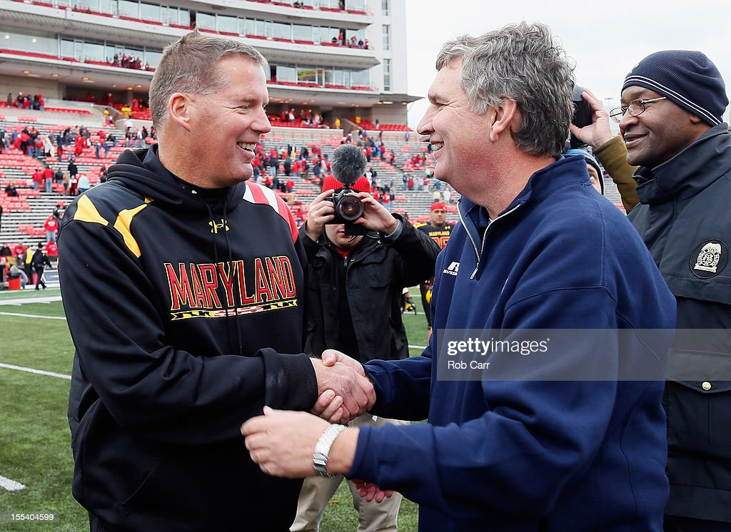 Head coach Randy Edsall of the Maryland Terrapins (L) shakes hands with head coach Paul Johnson of the Georgia Tech Yellow Jackets (R) following the Yellow Jackets 33-13 win at Byrd Stadium on November 3, 2012 in College Park, Maryland.