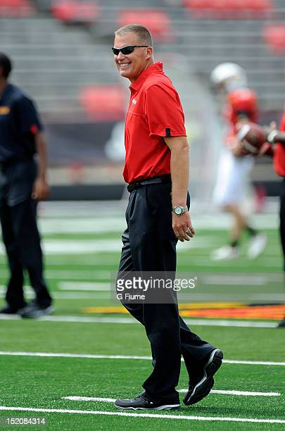 Head coach Randy Edsall of the Maryland Terrapins watches the teams warm up before the game against the William Mary Tribe at Byrd Stadium on...
