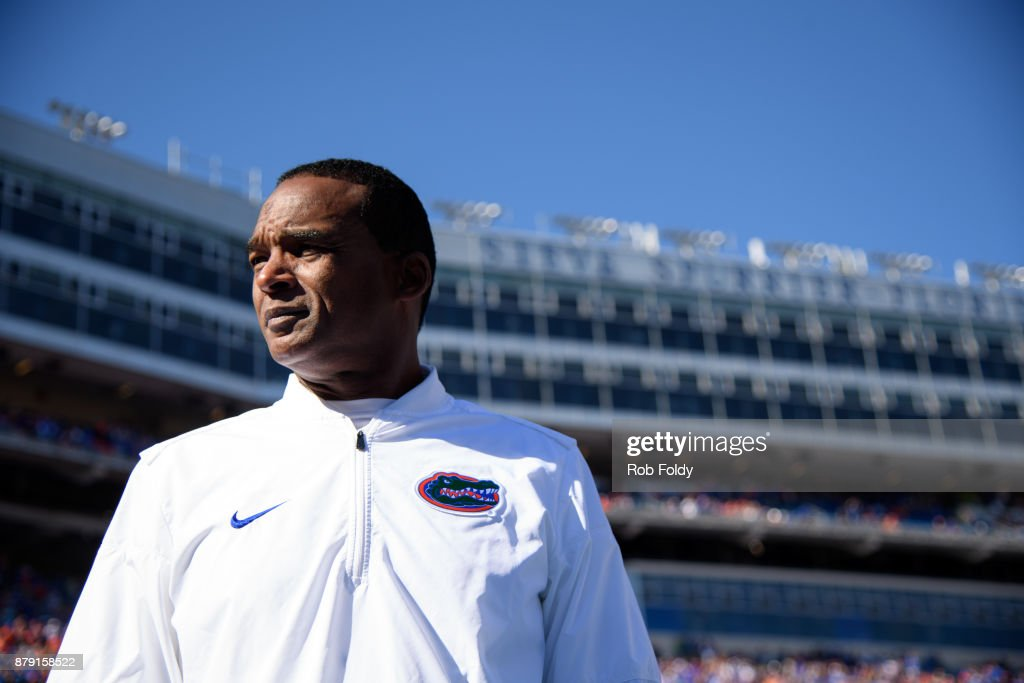 Head coach Randy Shannon of the Florida Gators looks on before the game against the Florida State Seminoles at Ben Hill Griffin Stadium on November 25, 2017 in Gainesville, Florida.