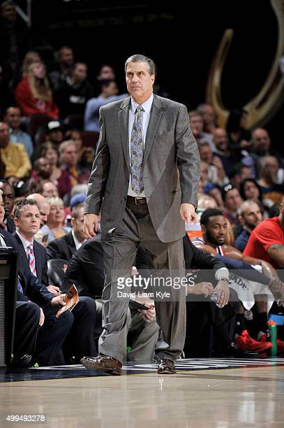 Head coach Randy Wittman of the Washington Wizards looks on during the game against the Cleveland Cavaliers on December 1 2015 at Quicken Loans Arena...