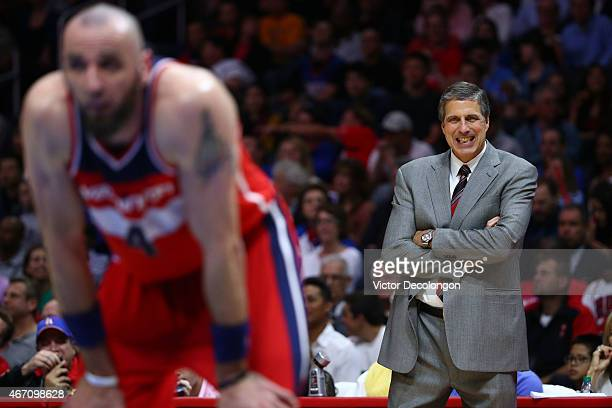 Head Coach Randy Wittman of the Washington Wizards makes a face during a Wizards free throw in the first half of the NBA game against the Los Angeles...