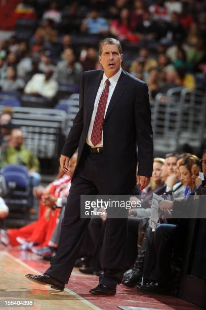 Head coach Randy Wittman of the Washington Wizards stands on the sideline during the game against the Boston Celtics at the Verizon Center on...