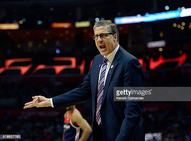 Head coach Randy Wittman of the Washington Wizards yells at the referee during the first half of the basketball game against Los Angeles Cippers at...