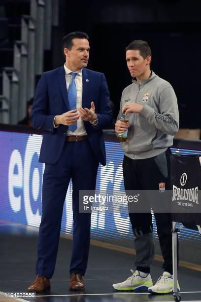 Head Coach Raoul Korner of MEDI Bayreuth and Headcoach Jaka Lakovic of Ratiopharm Ulm looks on during the EasyCredit Basketball Bundesliga match...