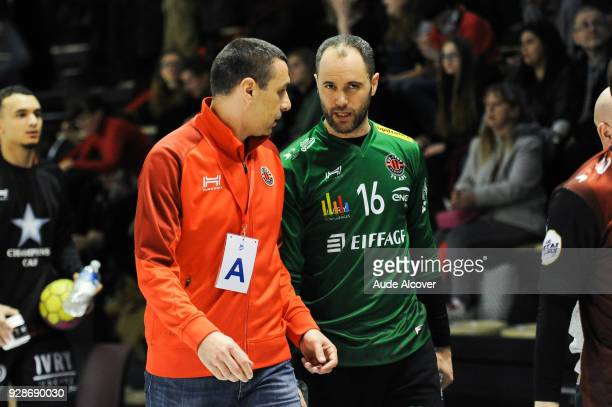 Head coach Rastko Stefanovic and Francois Xavier Chapon of Ivry during the Lidl Starligue match between Ivry and Chambery on March 7 2018 in...