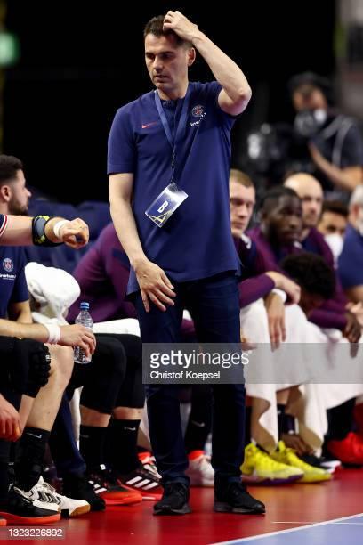 Head coach Raul Gonzalez Gutierrez of Paris Saint-Germain looks dejected during the VELUX EHF Champions League FINAL4 semi-final between Aalborg...