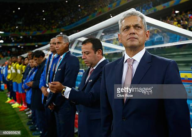 Head coach Reinaldo Rueda of Ecuador looks on during the 2014 FIFA World Cup Brazil Group E match between Honduras and Ecuador at Arena da Baixada on...