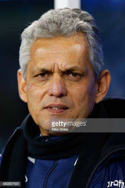 head coach Reinaldo Rueda of Ecuador looks on prior to the game against the Argentina at MetLife Stadium on November 15 2013 in East Rutherford New...