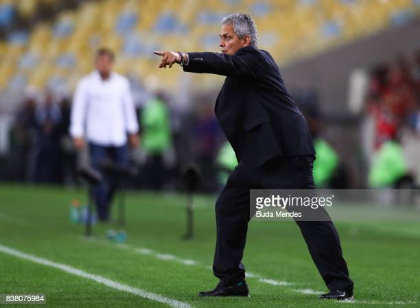 Head coach Reinaldo Rueda of Flamengo gestures during a match between Flamengo and Botafogo part of Copa do Brasil SemiFinals 2017 at Maracana...