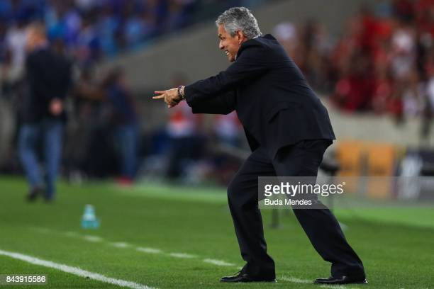 Head coach Reinaldo Rueda of Flamengo gestures during a match between Flamengo and Cruzeiro part of Copa do Brasil 2017 Finals at Maracana Stadium on...