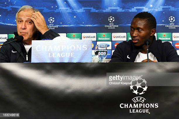 Head coach René Girard and Mapou YangaMbiwa attend the press conference of Montpellier Herault SC at the VeltinsArena ahead of the UEFA Champions...