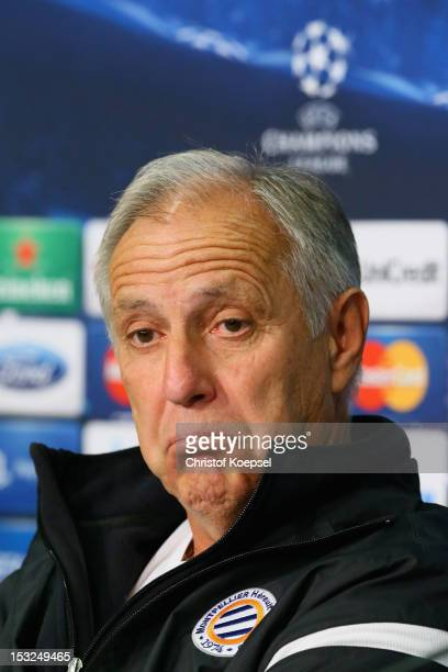 Head coach René Girard attends the press conference of Montpellier Herault SC at the VeltinsArena ahead of the UEFA Champions League group B match...