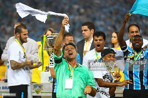 Head coach Renato Gaucho coach of Gremio celebrates winning the championship Copa do Brasil 2016 a match between Gremio and Atletico MG as part of...
