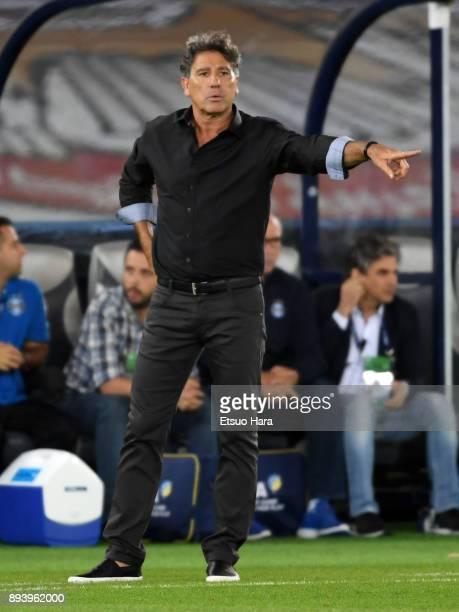 Head coach Renato Portaluppi of Gremio gestures during the FIFA Club World Cup UAE 2017 Final between Gremio and Real Madrid at the Zayed Sports City...