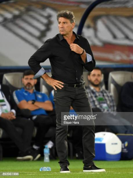 Head coach Renato Portaluppi of Gremio looks on during the FIFA Club World Cup UAE 2017 Final between Gremio and Real Madrid at the Zayed Sports City...